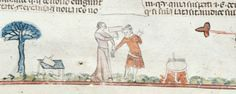 Royal 10 E IV: Decretals of Gregory IX with glossa ordinaria (the 'Smithfield Decretals'). Southern France, last quarter of the 13th century or 1st quarter of the 14th century. f. 142v: Woman hits dyer, whose heated vat heats over the fire