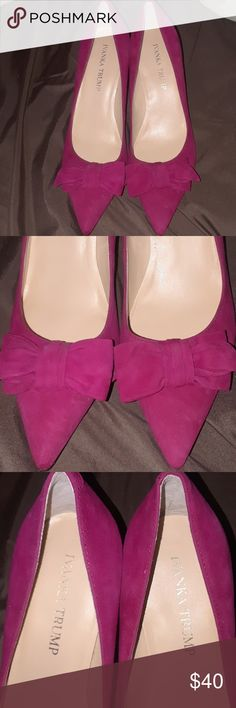 "Ivanka Trump suede pink bow high heels-7m Very cute hot pink high heeled suede shoe, that is gorgeous.The bows make it extra special,very chic.I am not an expert in cleaning the bottom of the shoes but can't guarentee It will do any different. They are just a nice office dress up and a must for your wardrobe. 3"" heel Ivanka Trump Shoes Heels"