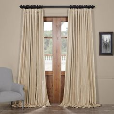 Shop for Exclusive Fabrics Faux Silk Extra-wide Blackout Single Curtain Panel. Get free delivery On EVERYTHING* Overstock - Your Online Home Decor Outlet Store! Faux Silk Curtains, Curtains 1 Panel, Drapery Panels, Velvet Curtains, Blackout Curtains, Door Curtains, Grommet Curtains, Off White Curtains, 108 Inch Curtains