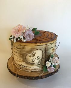 Birch Tree Stump Engagement Cake  on Cake Central