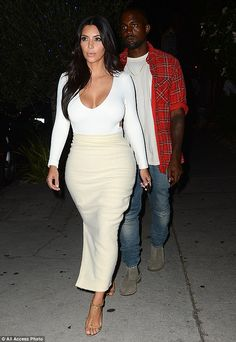 Date night: Kim later enjoyed dinner with husband Kanye West at a romantic French restaurant