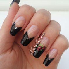 Nail Designs Black Tips Nail Tip Designs, Black Nail Designs, Simple Nail Designs, Art Designs, Great Nails, Cool Nail Art, Simple Nails, Black Nail Tips, Black Nails