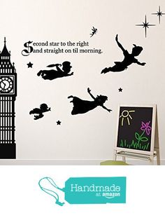 Peter Pan Wall Decal Vinyl Art Stickers for Kids Room, Playroom, Boys Room, Girls Room - Characters include Tinkerbell, Wendy, John, and Michael Flying to Neverland from CustomVinylDecor https://www.amazon.com/dp/B01AL34WZO/ref=hnd_sw_r_pi_awdo_bMLfybK2C6JEY #handmadeatamazon