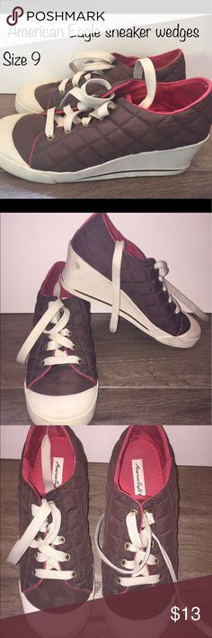 Brown and Red American Eagle Sneaker Wedges size 9 These have been used a handful of times and in great condition. These are some awesome Sneaker Wedges. American Eagle Outfitters Shoes Wedges
