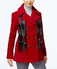 London Fog Double-Breasted Peacoat with Scarf $114.99 Enjoy the soft comfort of this sophisticated peacoat from London Fog, just the thing to pair with your favorite outfit.