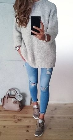 #fall #outfits · Grey Sweater // Ripped Skinny Jeans // Sneakers