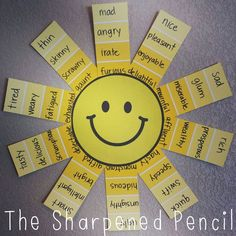 Shades of Meaning Suns Craft Project -- Teaching Synonyms or Improving Writing Through Rich Vocabulary Teaching Writing, Teaching English, Teaching Resources, Teaching Synonyms, Teaching Grammar, Writing Skills, Word Study, Word Work, Shape Anchor Chart