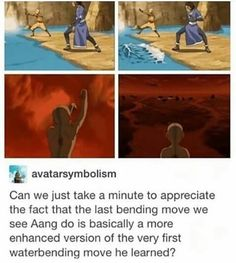 avatarsymbolism Can we just take a minute to appreciate the fact that the last bending move we see Aang do is basically a more enhanced version of the very first waterbending move he learned? Avatar The Last Airbender Funny, The Last Avatar, Avatar Funny, Avatar Airbender, Korra Avatar, Team Avatar, Satire, Atla Memes, Avatar Series