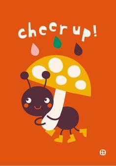 Bora Cheer up lieve mier wenskaart dubbel Greeting #Card from www.kidsdinge.com    www.facebook.com/pages/kidsdingecom-Origineel-speelgoed-hebbedingen-voor-hippe-kids/160122710686387?sk=wall http://instagram.com/kidsdinge