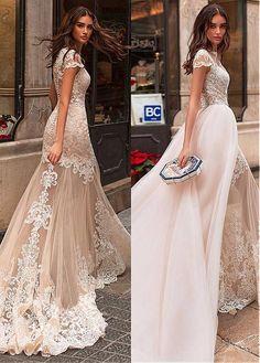 dcbb0f8272d  248.80  Gorgeous Tulle Jewel Neckline 2 In 1 Wedding Dress With Lace  Appliques   Detachable Skirt