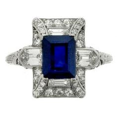 Art Deco Sapphire and Diamond Ring, Circa 1925 by Anjel Eyes