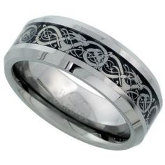 Tungsten 8 mm (5/16 in.) Comfort Fit Flat Wedding Band Ring w/ Celtic Dragon Inlay (Available in Sizes 7 to 14)