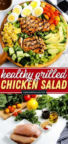 Here's a healthy grilled chicken recipe for dinner - the best grilled chicken salad! Marinated, grilled chicken breast on a bed of lettuce, tomatoes, eggs, corn, cucumbers, and avocados! It's healthy yet very delicious perfect for summer dinner! Healthy Grilled Chicken Recipes, Grilled Chicken Salad, Healthy Salad Recipes, Summer Grilling Recipes, Summer Recipes, Dinner Recipes, Side Recipes, Easy Recipes, Easy Pasta Salad