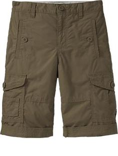 Boys Poplin Cuffed-Cargo Shorts