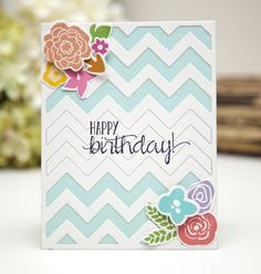 Floral Chevron Birthday Card by Ashley Cannon Newell for Papertrey Ink (June 2013)