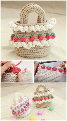 We are going to learn How to Crochet Strawberry Stitch Bag. Have you discovered the super cute 'Strawberry Crochet Stitch Pattern' before? What a unique appearance and texture it has. Did you see all the strawberries growing everywhere? On shoes, earrings, clothes… Every fashion accessory you can think of really ! So why not as a bag and a purse ! And why not making it grow yourself ! Free Crochet Bag, Crochet Tote, Crochet Handbags, Crochet Purses, Knit Crochet, Hand Embroidery Stitches, Crochet Stitches Patterns, Stitch Patterns, Crochet Strawberry