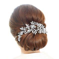 Bridal High Quality Zircon Art Deco Flower Leaf Hair Comb Clear Austrian Crystal #HairComb