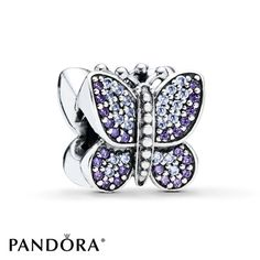 Pandora Butterfly Charm Purple & Clear CZ Sterling Silver