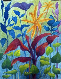 Foliage done in gouache