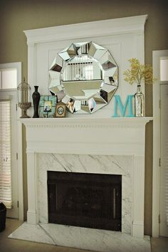 Fireplace with marble and white mantel