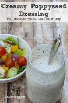 Aug 2019 - This creamy poppy seed dressing recipe is the perfect mix of tangy and sweet. I have yet to find a salad that doesn't taste better with this dressing! Creamy Salad Dressing, Dressing For Fruit Salad, Salad Dressing Recipes, Salad Recipes, Poppy Seed Dressing Salad, Poppyseed Dressing Recipe, Creamy Balsamic Dressing, Soup Recipes, Recipies