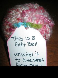 Surprise Filled Gift Balls As you wrap the string into a ball shape add little g.Surprise Filled Gift Balls As you wrap the string into a ball shape add little gifts. Source by parrishfamily. Gag Gifts, Craft Gifts, Cute Gifts, Funny Gifts, Best Gifts, Cute Gift Ideas, Little Presents, Little Gifts, Don D'argent