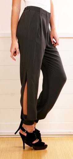High waisted pants with a slit