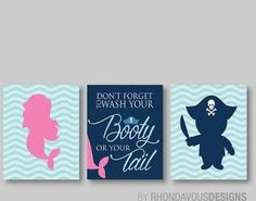 pirate and mermaid bathroom decor