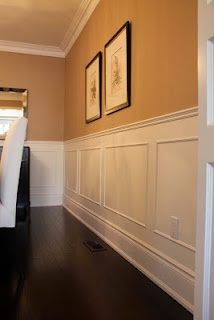 DIY faux wainscoting diy-This would look good in the dining room and foyer.