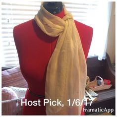 """H.P., 1/6/17-Beautiful Ivory & Gold Thread Scarf Host Pick, 1/6/17, Jewelry and Accessories Party, Light and delicate semi-sheer ivory scarf with gold thread design.  Rectangular, 60"""" long by 12 1/2"""" wide.  Never worn, only stored😔 Boutique Accessories Scarves & Wraps"""