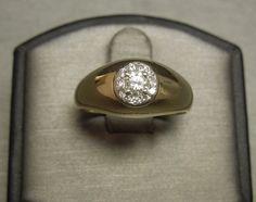 Men's Vintage Estate 14K Yellow Gold Gypsy 0.60TCW VS1 Diamond Cluster Ring Sz 9