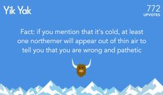The wussy wearing way too many layers. | The 26 Most Popular Yik Yak Posts Of 2014-This is so true, except I'm the northerner appearing out of nowhere!