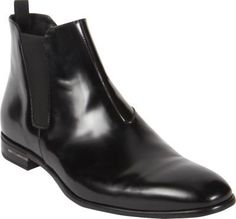 $790, Black Leather Chelsea Boots: Prada Chelsea Boot. Sold by Barneys New York. Click for more info: http://lookastic.com/men/shop_items/197723/redirect