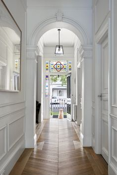"Breathtaking transformation of double fronted freestanding Victorian residence by Kirsty Ristevski Architects: Kirsty Ristevski Location: Albert Park Village, Melbourne, Australia Year: 2017 Photo courtesy: Tom Roe Description: ""Only just completed, the b Modern Victorian Homes, Victorian House Interiors, Victorian Architecture, Victorian Terrace Interior, Brownstone Interiors, Victorian Farmhouse, Victorian Hallway, Hallway Designs, Hallway Ideas"
