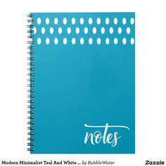 Modern Minimalist Teal And White Dots Script