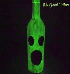Glow-in-the-dark wine bottle ghost.