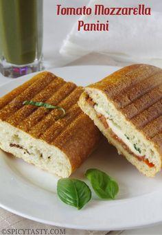 Tomato and mozzarella panini on ciabatta.