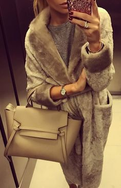 #fall #outfits ·  Fur Coat // Leather Tote Bag // Grey Top