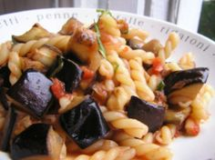 Dinner Tonight: Pasta with Roasted Eggplant and Tomato