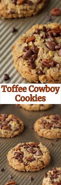 Toffee Cowboy Cookies - When Cooking - Sweet Treats - Cookies Brownie Cookies, Toffee Cookies, Cookie Desserts, Yummy Cookies, Cookie Recipes, Dessert Recipes, Cooking Cookies, Cookie Bars, Cinnamon Cookies