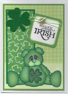 """St. Patrick's Day card, created using the bear from """"Lucky Me""""."""