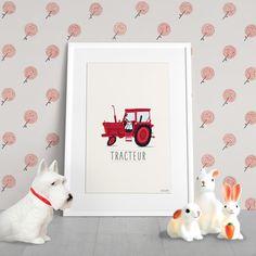 POSTER ART * Illustration d'une tracteur vintage rouge by SEVEUSMZ. sur Etsy, 11,00€