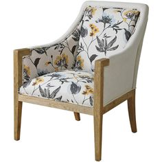 Nina French Country Floral Upholstered Oak Arm Chair ($922) ❤ liked on Polyvore featuring home, furniture, chairs, accent chairs, french country upholstered chairs, floral accent chair, french country accent chair, upholstered arm chair and fabric accent chairs