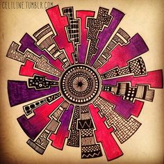 """Wheel"" by Celiline Zentangle Drawings, Doodles Zentangles, Doodle Drawings, Doodle Art, Doodle Patterns, Zentangle Patterns, Atelier D Art, Sharpie Art, Sharpies"