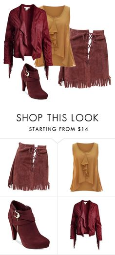 """Fringed Lace-Up Slirt"" by sillycatgrl ❤ liked on Polyvore featuring jon & anna, G by Guess and Sans Souci"
