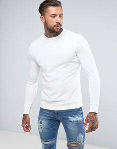 River Island Muscle Fit Sweatshirt In Off White