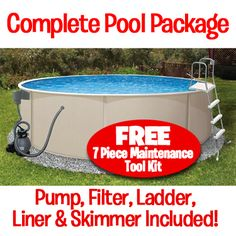 "52"" Deep! Above Ground Pool - Complete Package. Choose your size 15 ft. 18ft. or 24 ft. Round!"