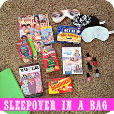 girl kits: sleepover in a bag--maybe 1 for each of the girls at Jacey's 10th birthday sleepover...<<<< Is there more than one Jacey in this world? I thought she was the only person to have that name....