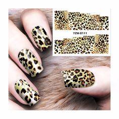 LCJ DIY Nail Water Decals  Leopard Designs Transfer Stickers Nail Art Sticker Tattoo Decals 8111 #Affiliate