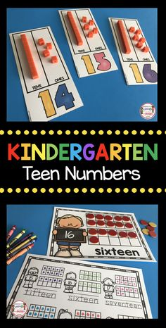 TEEN NUMBERS - Place Value Math - math centers - kindergarten math -first grade math - assessments - activities - worksheets - number and operations in base 10 - base ten unit Numbers Kindergarten, Kindergarten Math Activities, Math Numbers, Preschool Math, Fun Math, Math Games, Decomposing Numbers, Teaching Teen Numbers, Teaching Kids